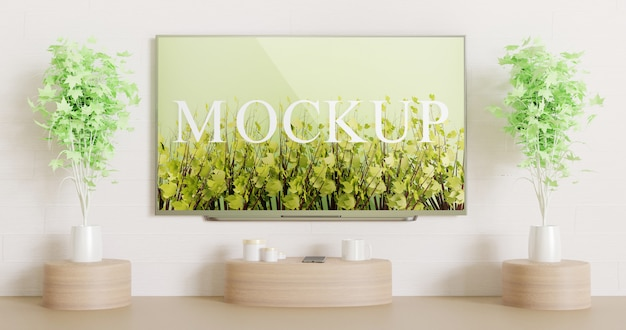 Maquete de tv de tela montada na parede branca com mesa de madeira decoração