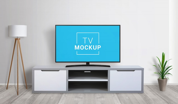 Maquete de tv na sala de estar. conceito de renderização 3d