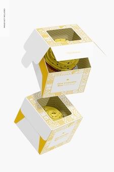 Maquete de uma caixa de cupcake, caindo