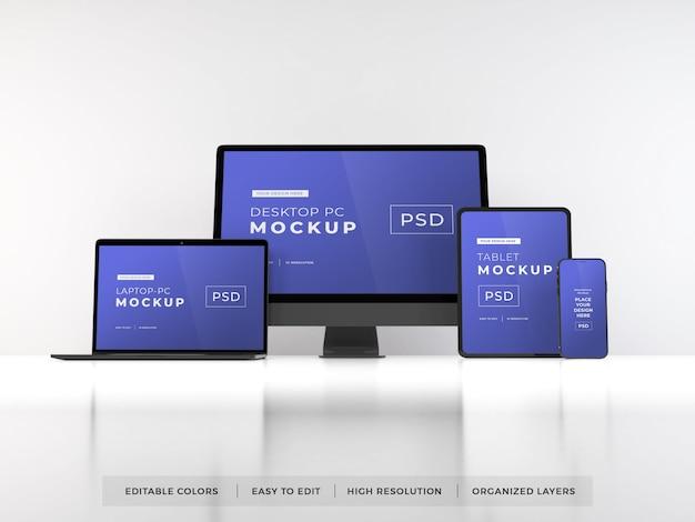 Maquete de vários dispositivos digitais