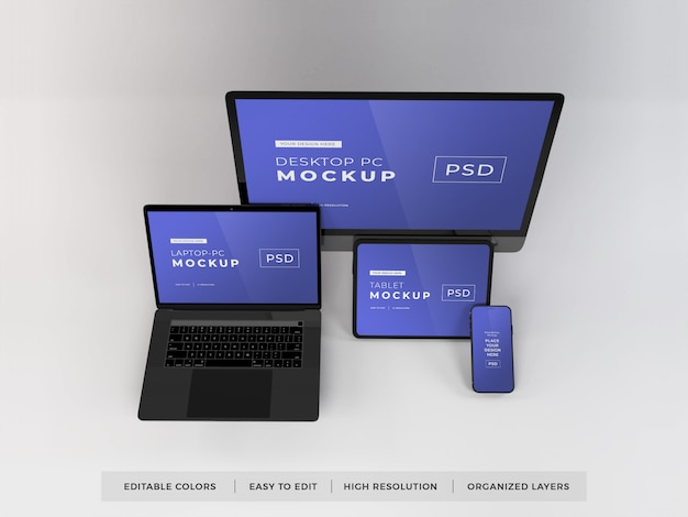 Maquete de vários dispositivos realistas