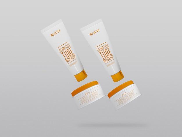 Maquete de vários potes e tubos de creme cosmético