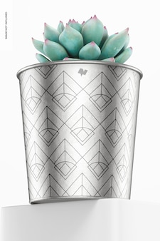 Maquete de vaso metálico para plantas, vista de baixo ângulo