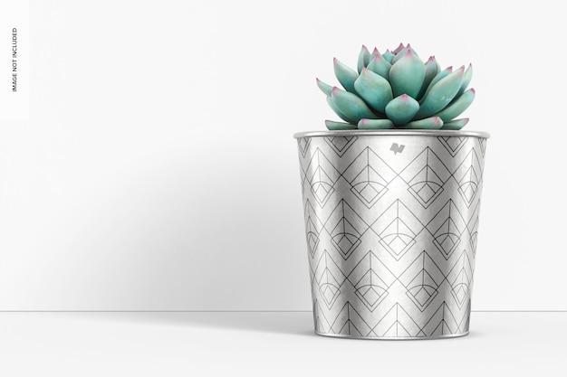 Maquete de vaso metálico para plantas, vista frontal