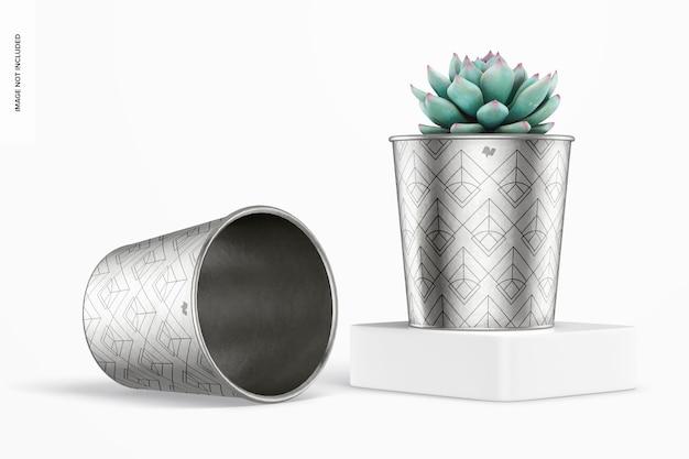 Maquete de vasos metálicos para plantas