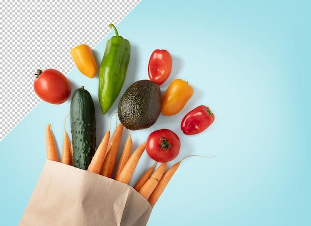 Maquete de vegetais frescos em saco reciclável