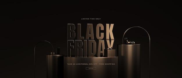 Maquete de venda da black friday em renderização 3d