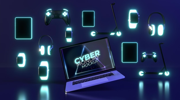 Maquete de venda da cyber segunda-feira com diferentes dispositivos