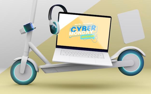 Maquete de venda de laptop da cyber monday com composição de dispositivos