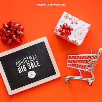 Maquete de vendas com design de christmtas