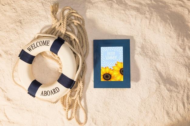 Maquete de verão com elementos marinhos Psd grátis
