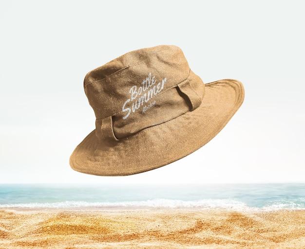 Maquete de verão de chapéu de balde