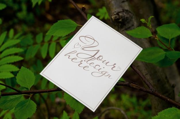 Maquete de verão em branco 5 x 7 no fundo da árvore