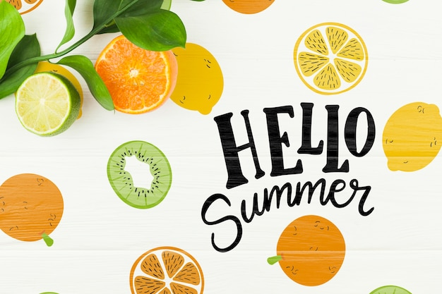 Maquete de verão plana leigos com copyspace e frutas