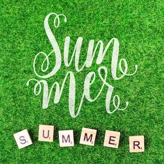 Maquete de verão plana leigos com copyspace