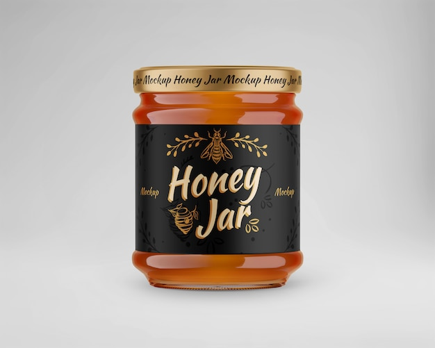 Maquete de vidro com pote de mel