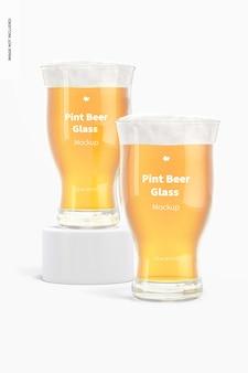 Maquete de vidro de cerveja de 16 onças, vista frontal