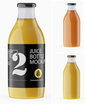 Maquete de vidro de garrafa de suco de laranja isolada