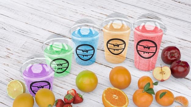 Maquete de vidro smoothie transparente