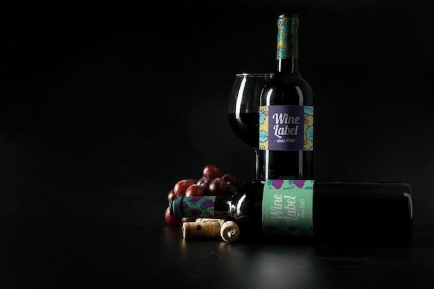 Maquete de vinho decorativo com copyspace
