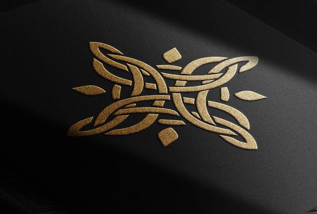 Maquete de vista em perspectiva de papel luxuoso com relevo dourado