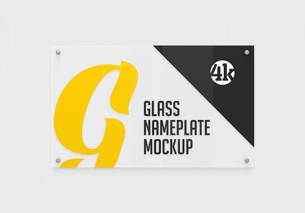 Maquete de vista frontal da placa de identificação de vidro retangular