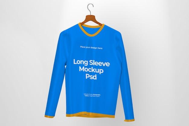 Maquete de vista frontal de design de camiseta de manga comprida isolada