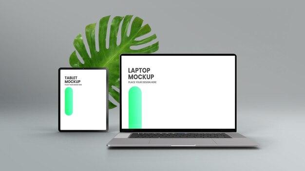 Maquete de vista frontal de laptop e tablet