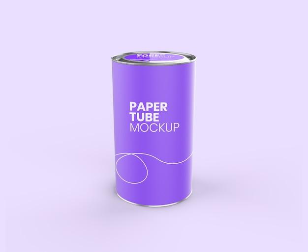 Maquete de vista realista de tubo de papel