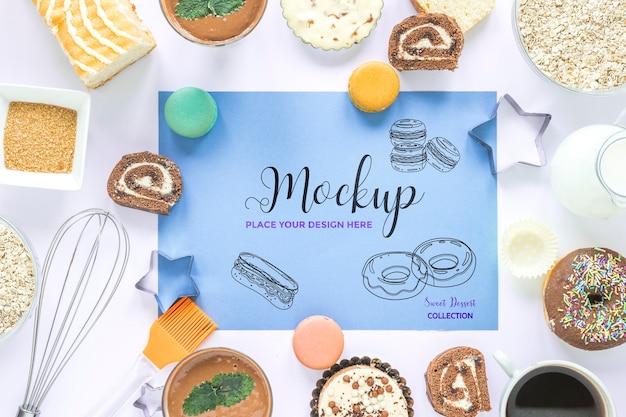 Maquete de vista superior com doces e donuts