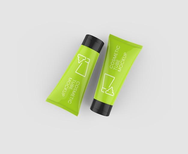 Maquete de vista superior de tubo cosmético