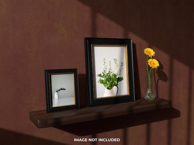 Maquete de vista superior moldura realista com flor