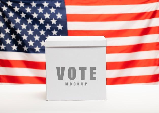 Maquete de voto e bandeira do estado unido da américa
