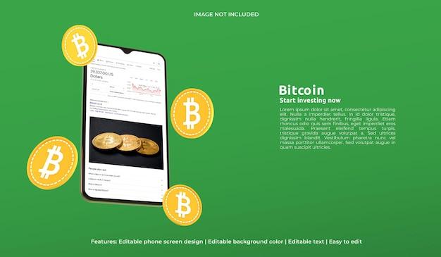 Maquete de web design 3d de moeda criptográfica