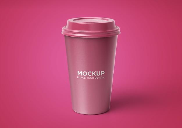 Maquete de xícara de café com desenho floral isolado