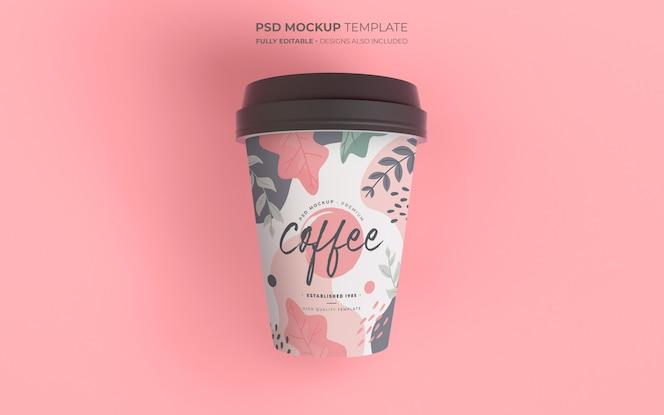 Maquete de xícara de café com design floral