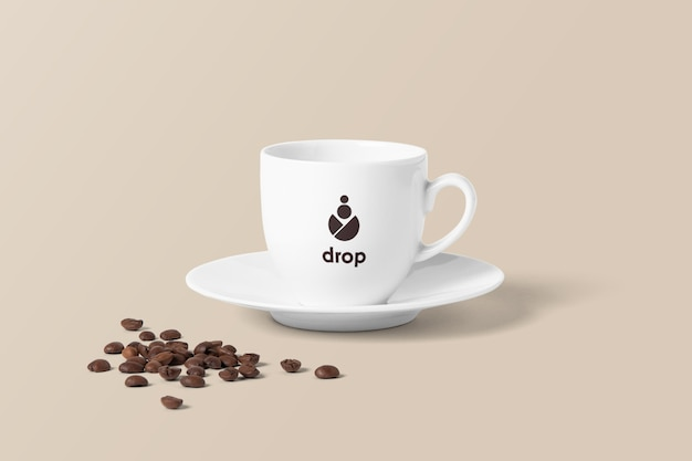 Maquete de xícara de café com feijão