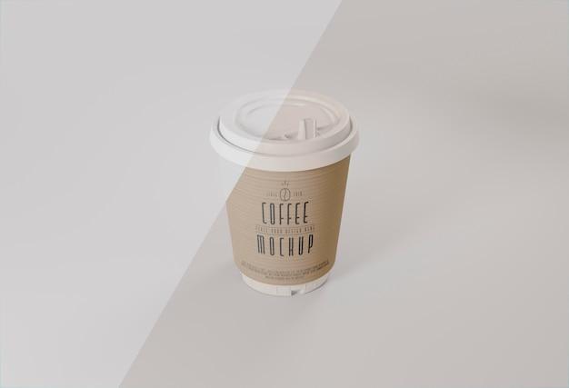 Maquete de xícara de café de ângulo alto