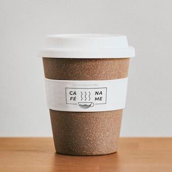 Maquete de xícara de café de cortiça reutilizável