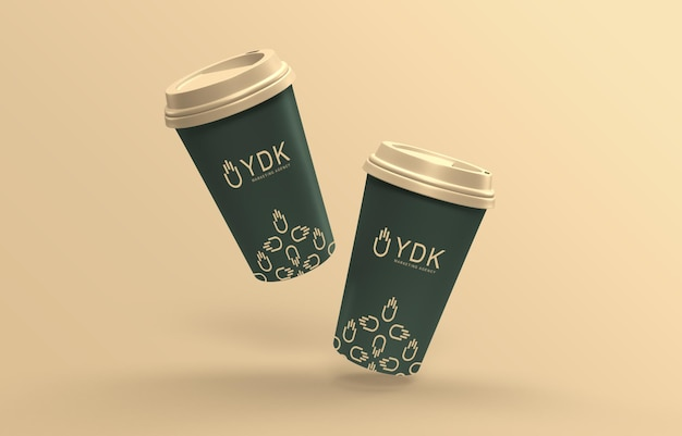 Maquete de xícara de café de papel flutuante