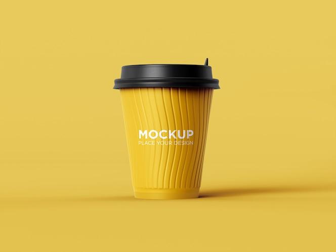 maquete de xícara de café de plástico com vista frontal