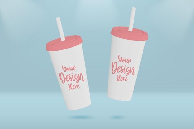 Maquete de xícara de café de plástico
