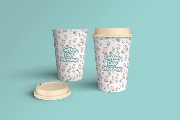 Maquete de xícara de café realista