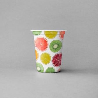 Maquete de xícara de iogurte