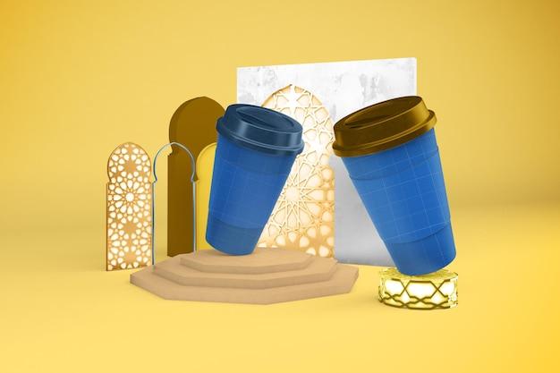 Maquete de xícaras de café árabe