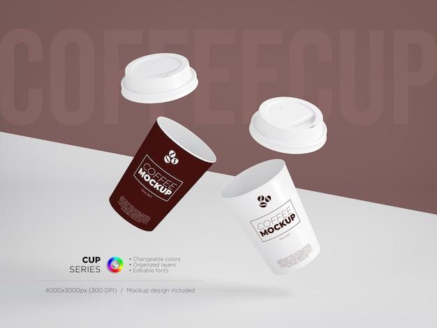 Maquete de xícaras de café com tampas