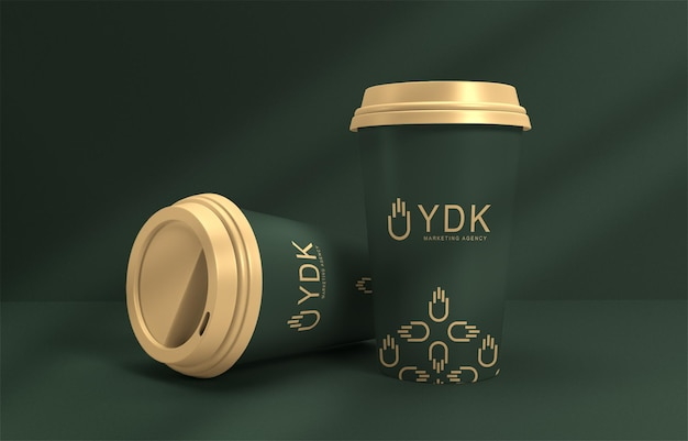 Maquete de xícaras de café de luxo