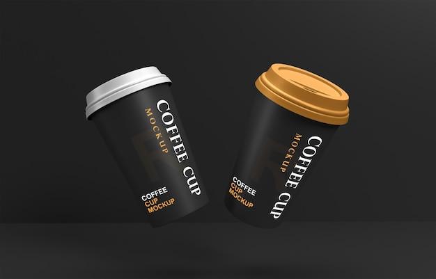 Maquete de xícaras de café voadoras com suporte de produto
