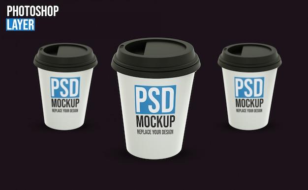 Maquete de xícaras de café
