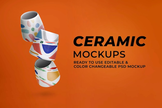 Maquete de xícaras de chá de cerâmica psd em padrão abstrato de decoração para casa